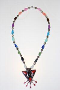 Multi-colour tear drop necklace