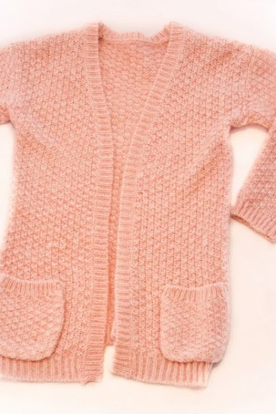 Long Sleeves Cream Wool Cardigan