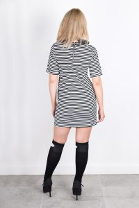 High Neck Straight Mini Black & White Stripy Dress By Isaro