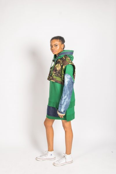 Green Hoody Dress Camo Denim Combo - Gumbo