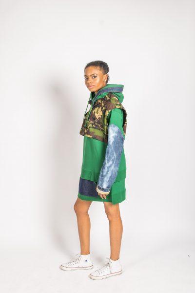 Green Hoody Dress Camo Denim Combo - Gumbo