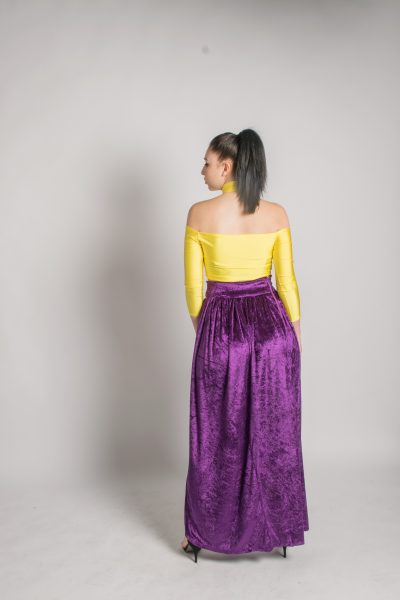 Isaro Maxi long Slit Skirt and Yellow Top