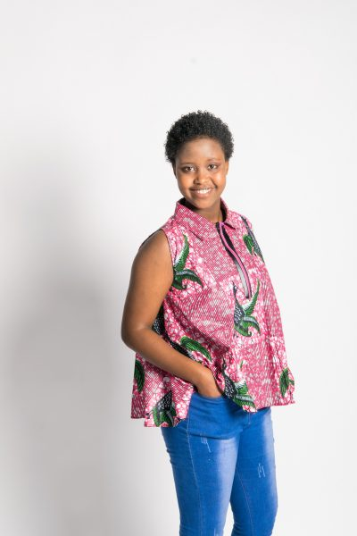 African Print Peacock Pink Blouse