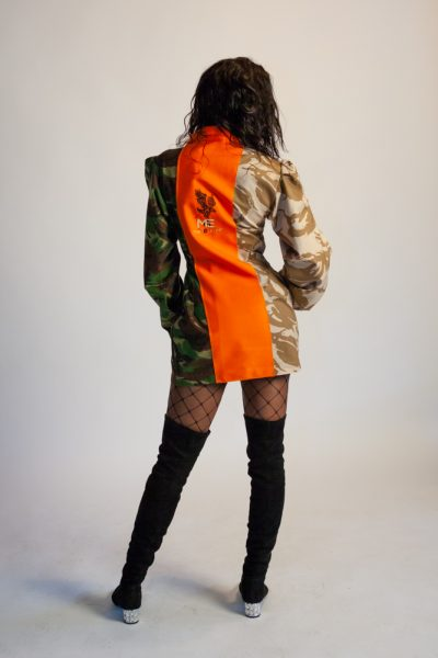 Fitted Khaki Camo Dress with Orange Collar
