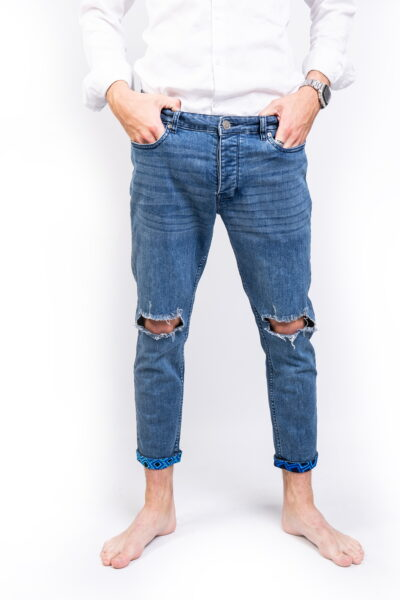 Blue Ripped Stretch Skinny Fit Jeans Front