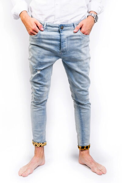 Distressed Skinny Stretch Denim Jeans Front