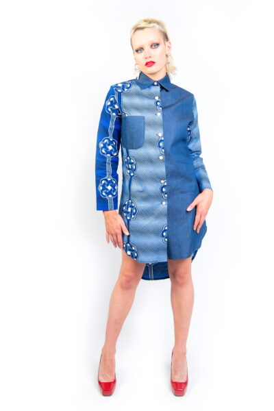 African print & Denim Fusion High Low Dress Shirt Front