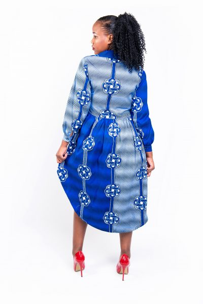 Isaro Identity Collection Blue Tribal Print High Low Dress Back