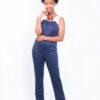 Isaro Identity Collection Fusion Sleeveless Navy-blue Jumpsuit Front