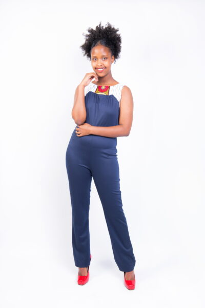 Isaro Identity Collection Fusion Sleeveless Navy-blue Jumpsuit Front