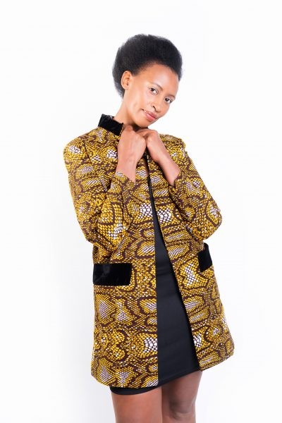 Isaro Identity Collection Yellow Leopard Print Jacket Front