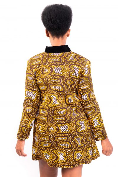 Isaro Identity Collection Yellow Leopard Print Jacket Back
