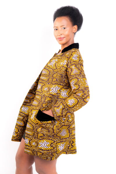 Isaro Identity Collection Yellow Leopard Print Jacket Side