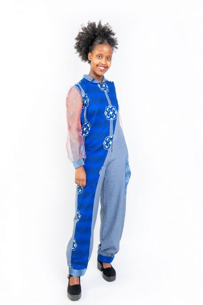 African Print Denim Fusion Romper Front