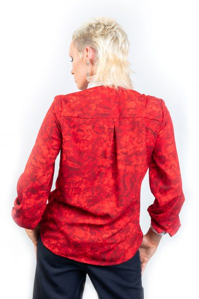 Isaro Fusion Collection Spring Red Silk Ladies Blouse Back