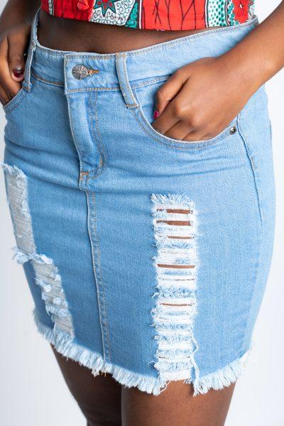 High-Rise Mini Denim Skirt