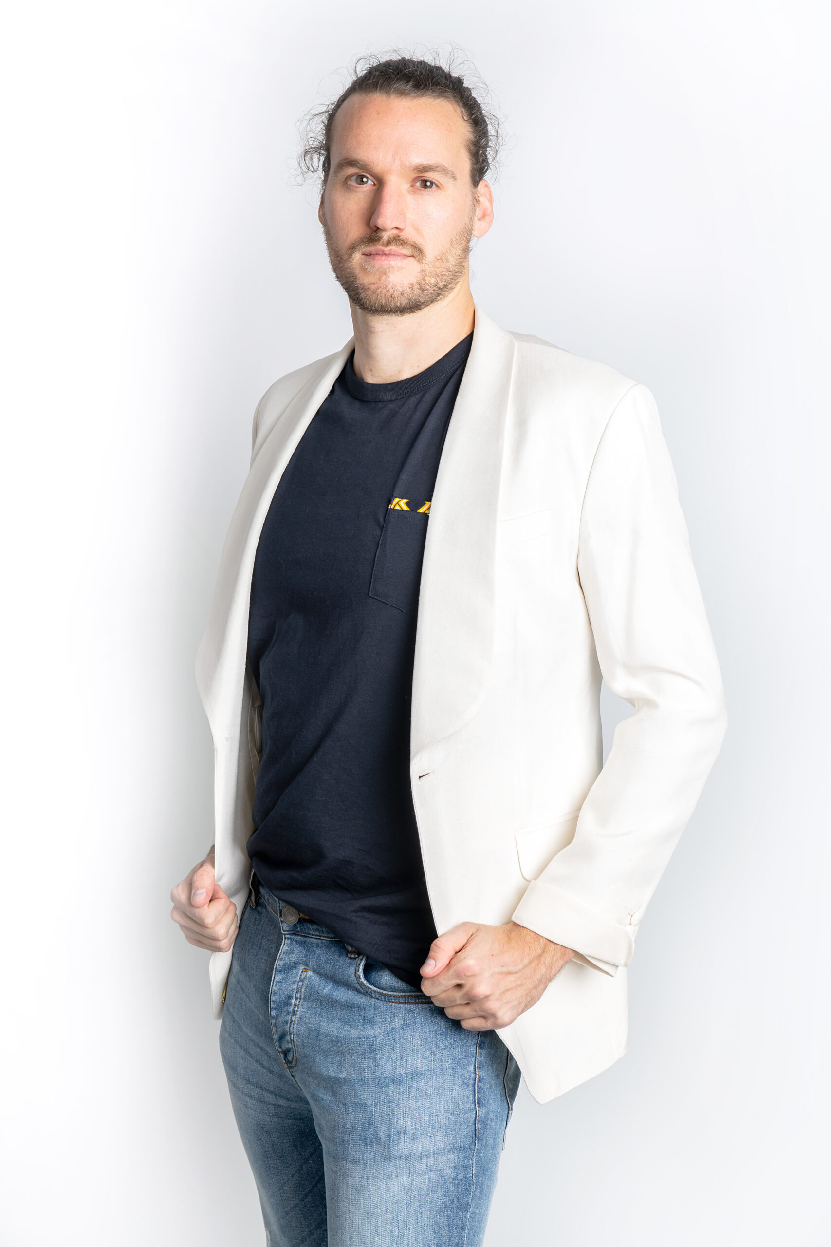 The Ash Single Breasted Silk Jacket White