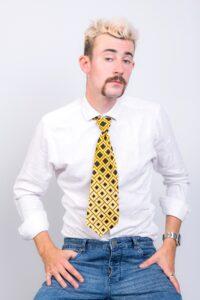 Yellow black diamond tie