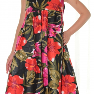 Floral Printed Dress, Red & Black