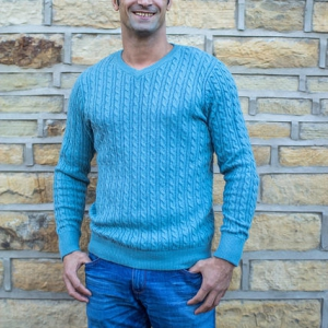 Blue Knitted Wool Jumper
