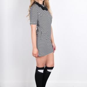High Neck Straight Mini Black & White Stripy Dress By Isaro