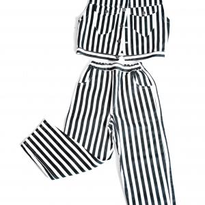 Checked matching denim suit by Isaro. Unisex children 7-8yrs