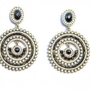 Black and white round drop earrings
