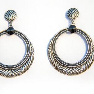 Black & Silver Round Drop Earring