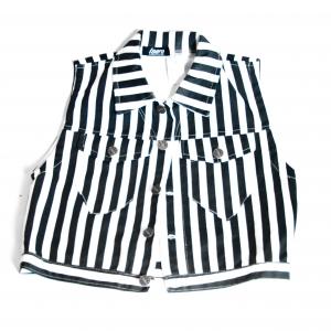 Black & White Striped Jean Jacket by Isaro. Unisex Children 6-7yrs