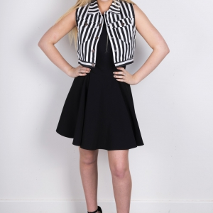 Denim Petite Slim Stripy Black & White Waist Coat